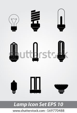 Vector illustration of icon set lamp - stock vector