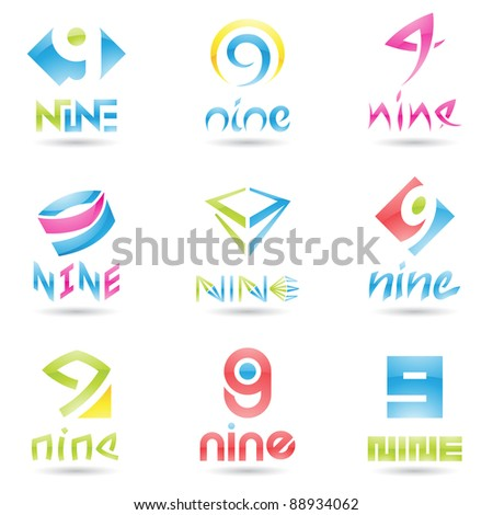 Vector illustration of Icons for number nine isolated on white background