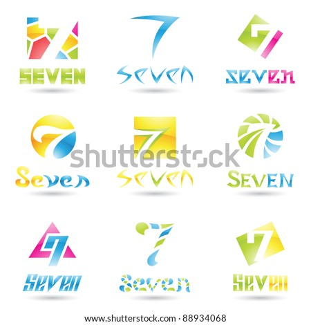 Vector illustration of Icons for number seven isolated on white background