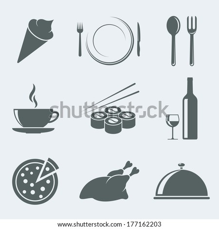 Vector illustration of icons on a theme meal