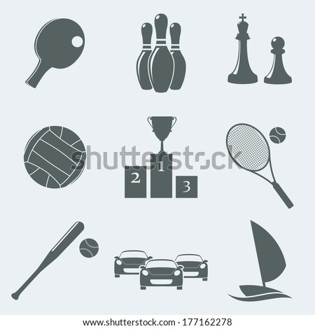 Vector illustration of icons on a theme of sport - stock vector