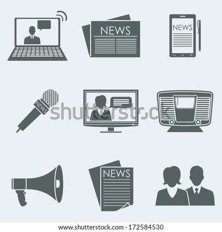 Vector illustration of icons on a theme the news - stock vector
