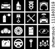 Vector illustration of icons on car repairs - stock vector