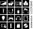 Vector illustration of icons on electronics - stock vector