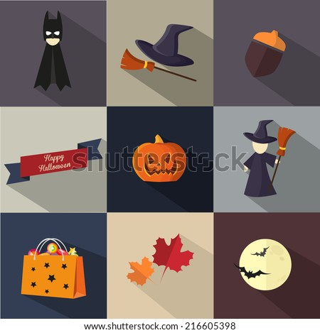 vector illustration of icons on Halloween - stock vector