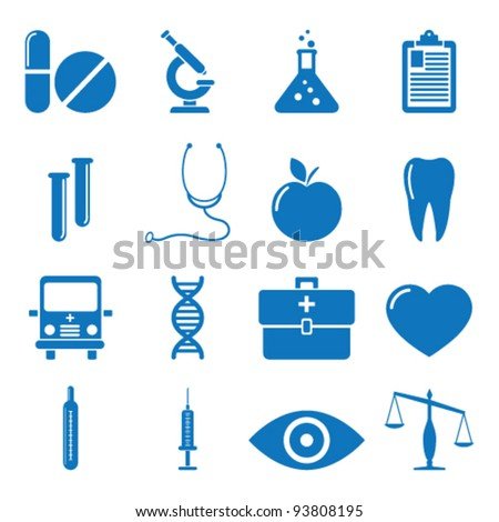 Vector illustration of icons on medicine - stock vector