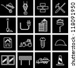 Vector illustration of icons on the topic of building - stock vector