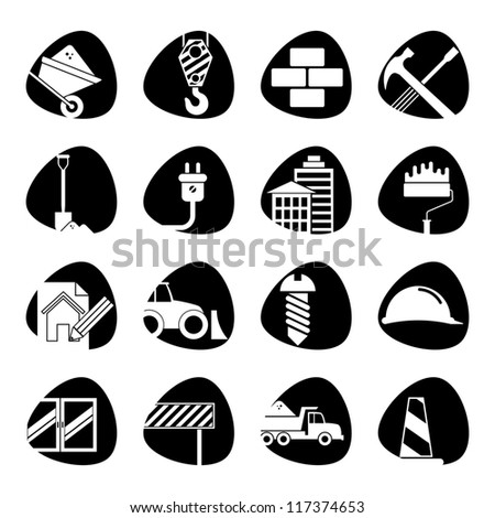 Vector illustration of icons on the topic of building