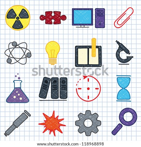 Vector illustration of icons on the topic of science - stock vector