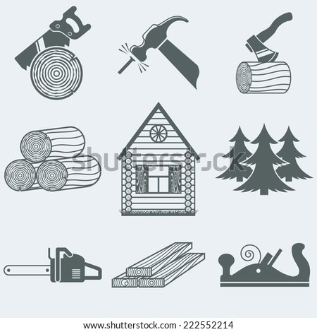 Vector illustration of icons on wood - stock vector