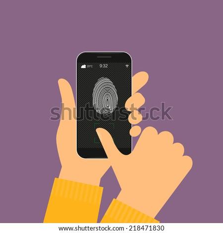 Vector illustration of identification of fingerprint on smartphone. - stock vector