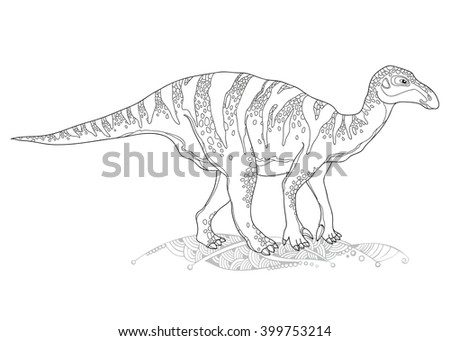 Vector illustration of Iguanodon from genus of ornithopod dinosaur isolated on white background. Series of prehistoric dinosaurs. Fossil animals and reptiles in contour style. - stock vector