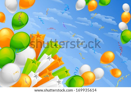 vector illustration of in Indian Tricolor balloon - stock vector