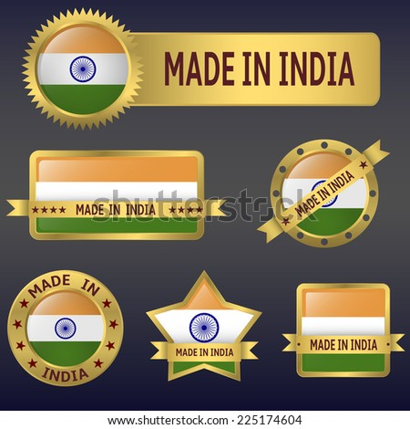 Vector illustration of India asian country flag and badges set - stock vector