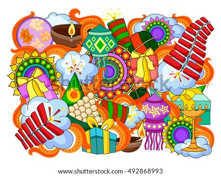 vector illustration of India festival of Lights Happy Diwali doddle background