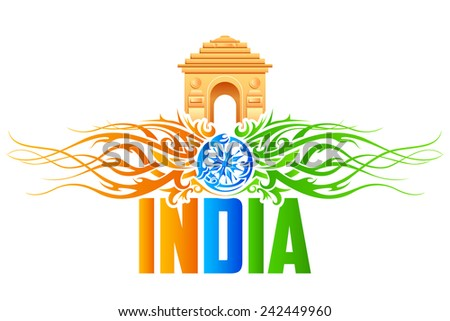 vector illustration of India Gate with tricolor floral swirl - stock vector