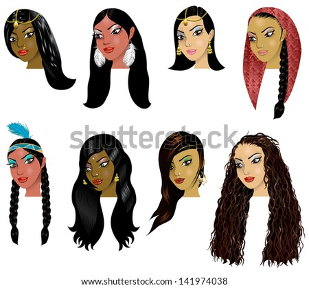 Vector Illustration of Indian, Arab and Native American Women Faces. Great for avatars, makeup, skin tones or hair styles of various women. - stock vector