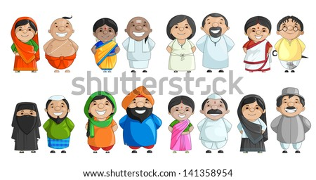 vector illustration of Indian couple of different culture standing together - stock vector