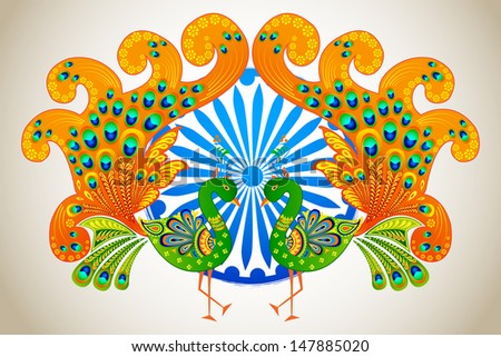 vector illustration of Indian flag colored decorated peacock - stock vector