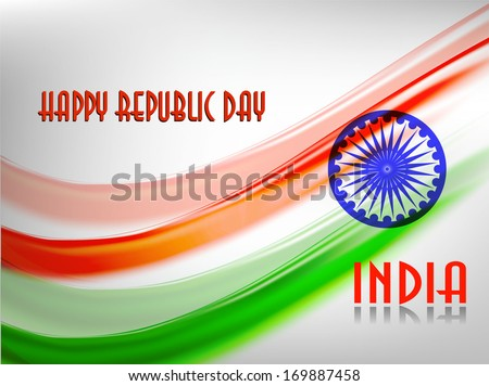 Vector illustration of Indian flag in Republic Day and Independence Day with shiny color.