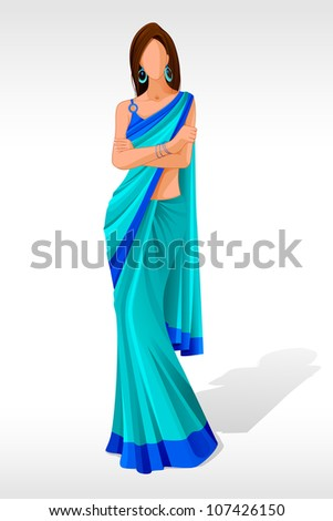 vector illustration of indian lady posing in sari - stock vector
