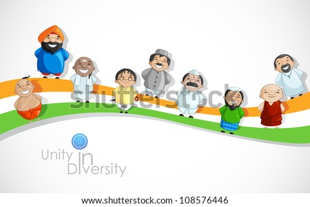 vector illustration of Indian people of different culture on Tricolor Flag