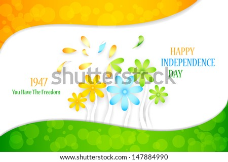 vector illustration of Indian tricolor flower for Independence Day background - stock vector