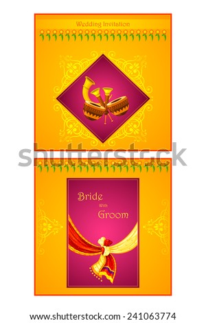 Hindu wedding card stock images royalty free images vectors vector illustration of indian wedding invitation card stopboris Choice Image