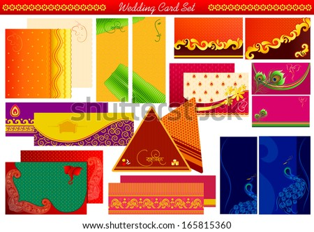 vector illustration of Indian wedding invitation card with Shubh Vivah( Happy Wedding) message - stock vector
