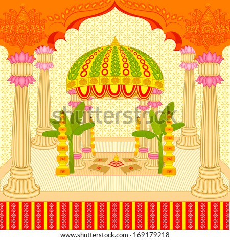 vector illustration of Indian wedding mandap (stage) - stock vector