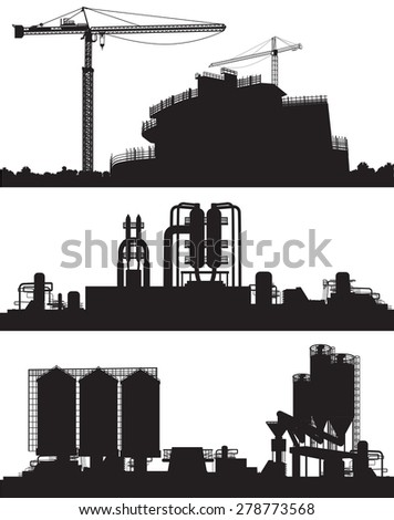 Vector illustration of industry area. Construction Site, power plant and refinery