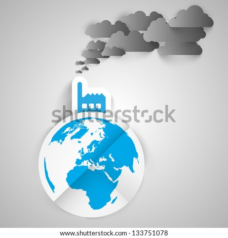 Vector illustration of industry on globe - stock vector