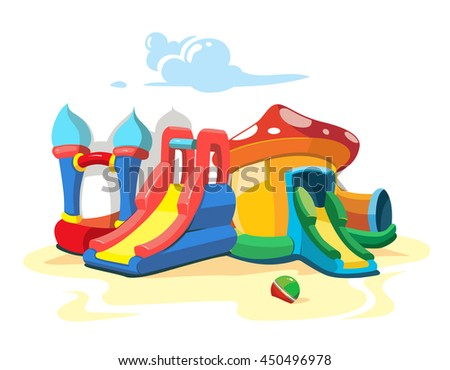 Vector illustration of inflatable castles and children hills on playground. Landscape Picture isolate on white background - stock vector