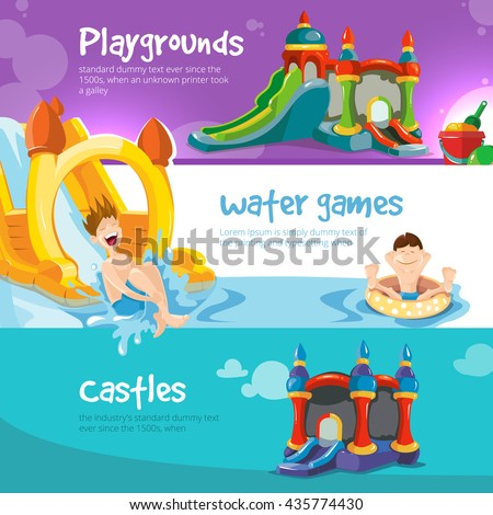 Vector illustration of inflatable castles and children water hills on playground.  - stock vector