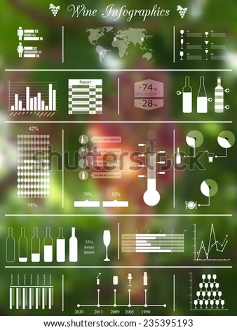 vector illustration of infographic elements concerning to winemaking themes on blurred background