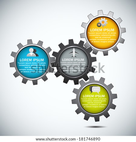 Vector illustration of infographic made of gears.  - stock vector