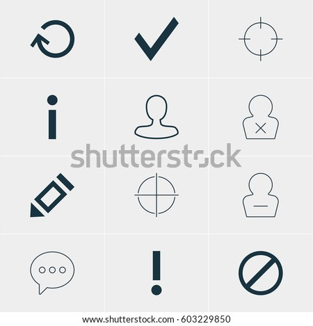 Vector Illustration Of 12 Interface Icons. Editable Pack Of Message, Renovate, Banned Member And Other Elements.