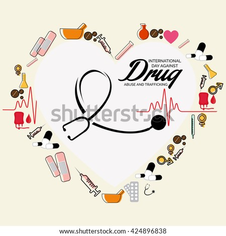 vector illustration of international day against drug abuse and trafficking.