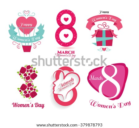 vector illustration of International Women's Day celebration March 8, the schedule for design, logo set of icons for the holiday