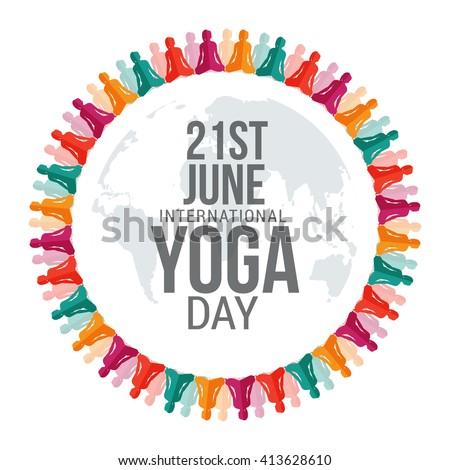 Vector illustration of international yoga day. - stock vector