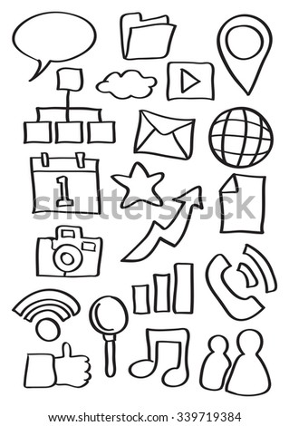 Vector illustration of internet icons in black outline doodle cartoon style isolated on white background.
