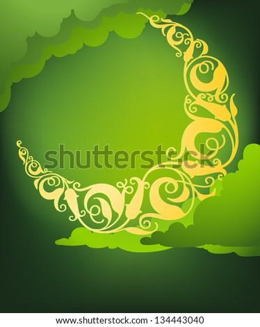 Vector illustration of islamic crescent moon art - stock vector