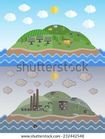 Vector illustration of  islands for environmental pollution designs. Ecology Concept. Flat Style.   - stock vector