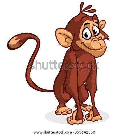 Vector illustration of isolated chimp monkey sitting - stock vector