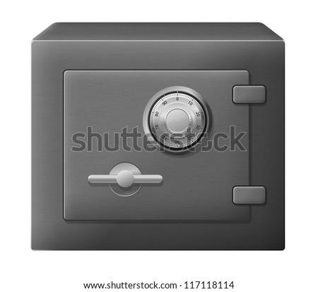 Vector illustration of isolated dark steel safe box - stock vector