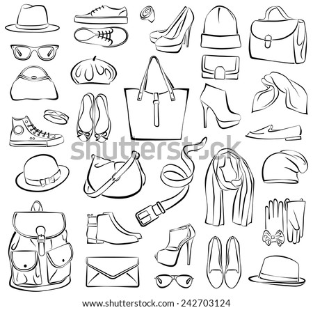 Vector illustration of isolated fashion accessories - stock vector