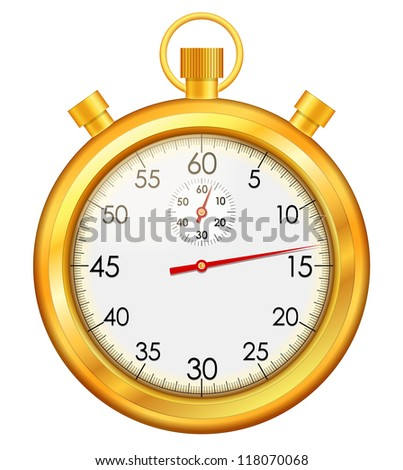 Vector illustration of isolated golden stop watch - stock vector