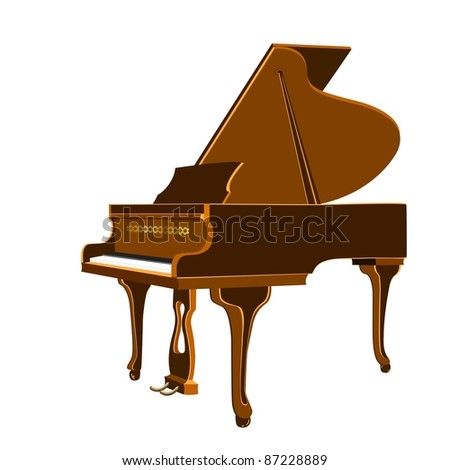 Vector illustration of isolated grand piano on a white background - stock vector