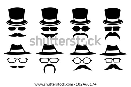 Vector illustration of isolated hats, glasses and moustaches on white background - stock vector