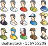 Vector illustration of isolated man icons in various season clothes. Easy-edit layered vector EPS10 file scalable to any size without quality loss. High resolution raster JPG file is included. - stock vector